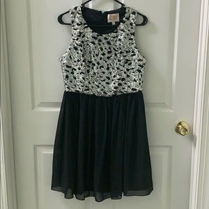 Black Sequin Chiffon Dress
